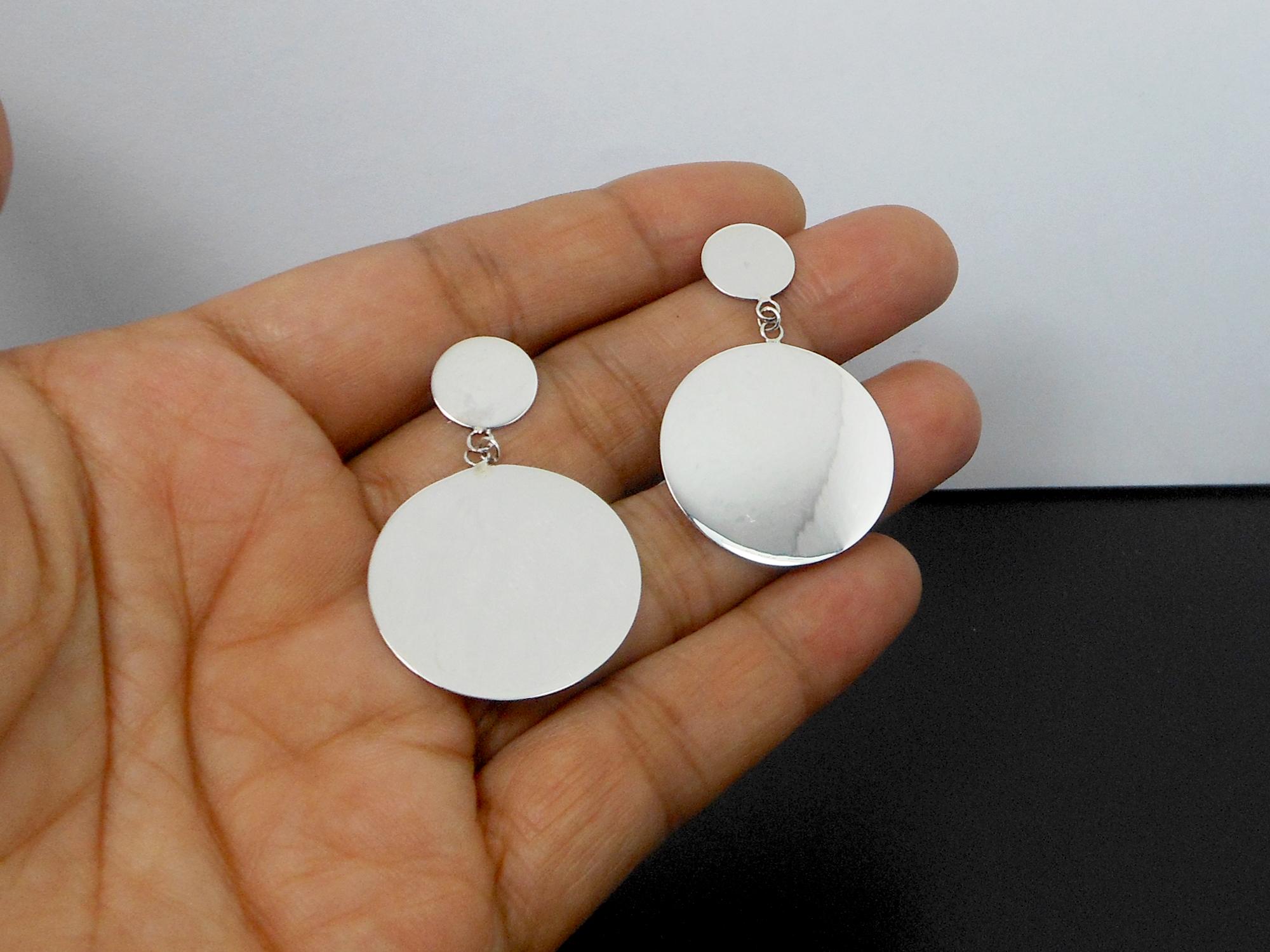 Disc Stud Earrings Silver Ring Earrings Handmade